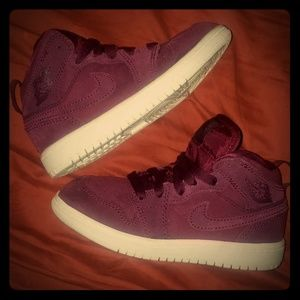 Purple/maroon girls Nike Air Jordan's size 11c